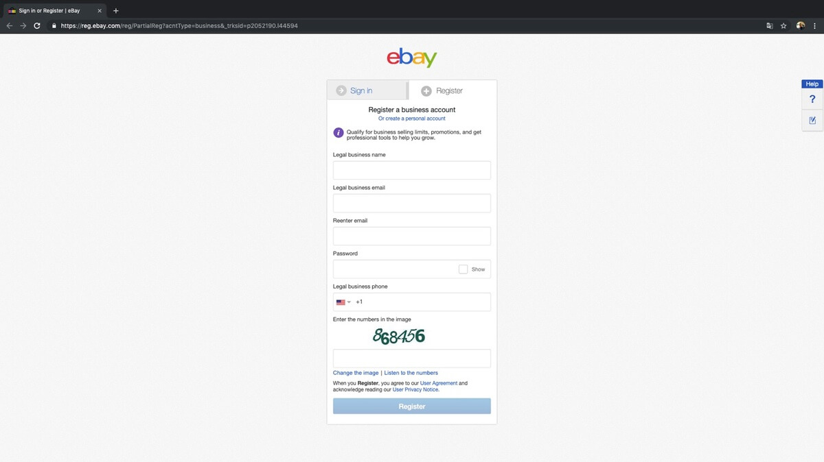 How to sell items on eBay: Sign up